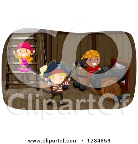 Clipart of Pirate Kids Under a Ship Deck - Royalty Free Vector Illustration by BNP Design Studio
