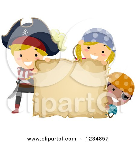 Clipart of Pirate Kids with a Blank Treasure Map or Parchment Sign - Royalty Free Vector Illustration by BNP Design Studio