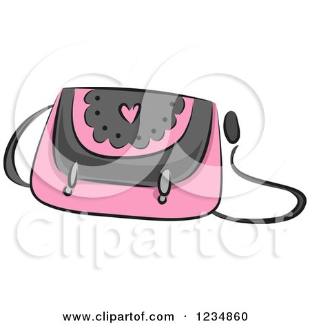 Clipart of a Pink Boutique Purse - Royalty Free Vector Illustration by BNP Design Studio