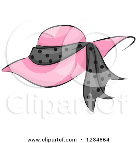Clipart Of A Pink Boutique Hat With A Polka Dot Band Royalty Free Vector Illustration