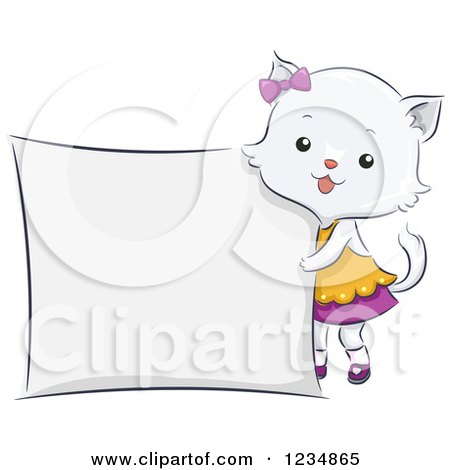 Clipart of a Cute Female Cat Standing by a Sign - Royalty Free Vector Illustration by BNP Design Studio