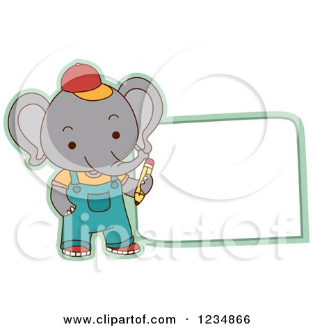 Clipart of a Cute Elephant Student Standing by a Sign - Royalty Free Vector Illustration by BNP Design Studio