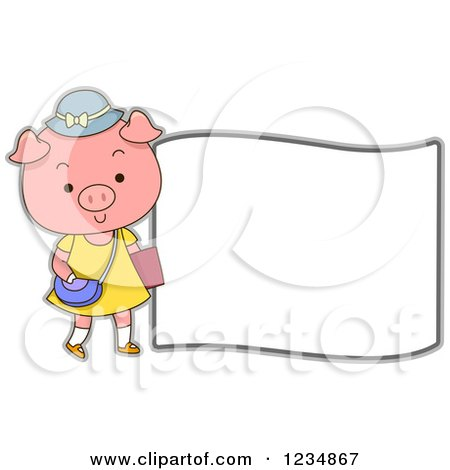 Clipart of a Cute Female Pig Standing by a Sign - Royalty Free Vector Illustration by BNP Design Studio