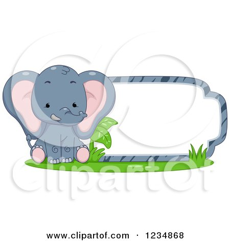 Clipart of a Cute Elephant Sitting by a Label or Sign - Royalty Free Vector Illustration by BNP Design Studio