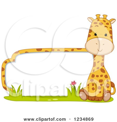 Clipart of a Cute Giraffe by a Label or Sign - Royalty Free Vector Illustration by BNP Design Studio