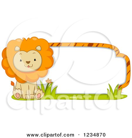 Clipart of a Cute Male Lion Sitting by a Label or Sign - Royalty Free Vector Illustration by BNP Design Studio