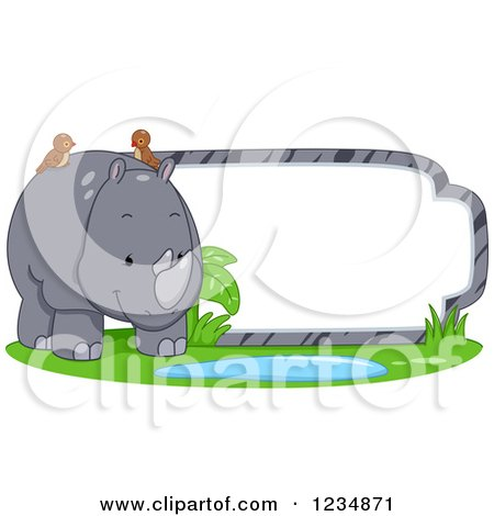 Clipart of a Cute Rhinoceros Standing by a Label or Sign - Royalty Free Vector Illustration by BNP Design Studio