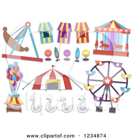 Clipart of Carnival Rides and Items - Royalty Free Vector Illustration by BNP Design Studio