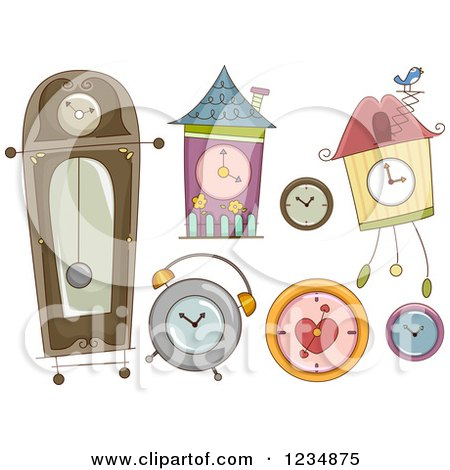 Clipart of Different Styled Clocks - Royalty Free Vector Illustration by BNP Design Studio