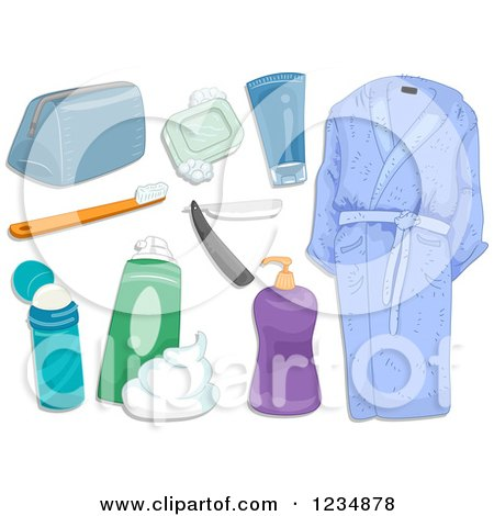 Clipart Of Men S Hygiene And Bath Toiletries Royalty