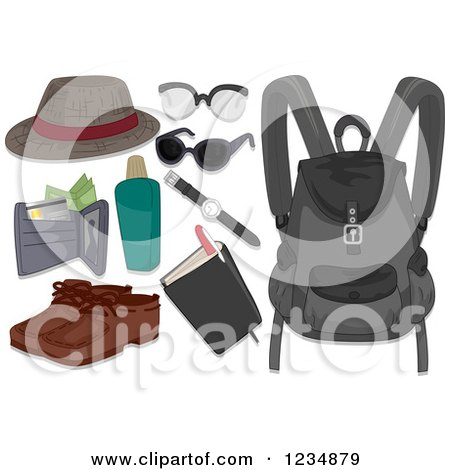 Clipart of Men's Travel Accessories - Royalty Free Vector Illustration by BNP Design Studio