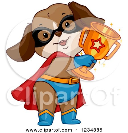 Clipart of a Super Hero Dog Holding a Trophy Cup - Royalty Free Vector Illustration by BNP Design Studio