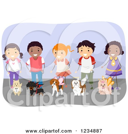 Clipart of Happy Diverse Children Handling Dogs in Costumes at a Show - Royalty Free Vector Illustration by BNP Design Studio