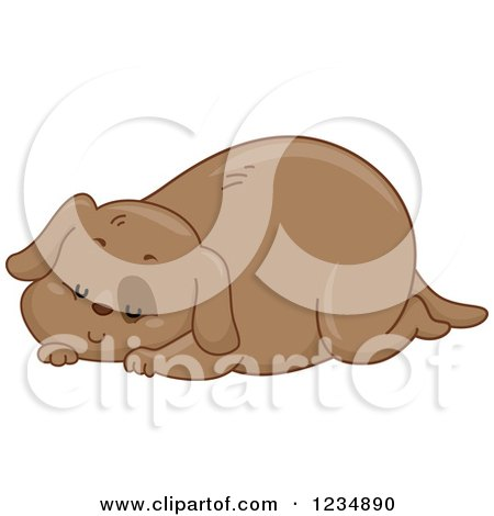 Clipart of a Chubby Sleeping Brown Dog - Royalty Free Vector Illustration by BNP Design Studio