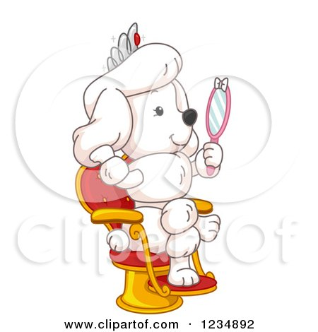 Clipart of a White Poodle Princess Holding a Hand Mirror - Royalty Free Vector Illustration by BNP Design Studio