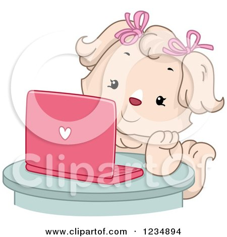 Clipart of a Female Dog Using a Pink Laptop Computer - Royalty Free Vector Illustration by BNP Design Studio