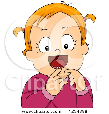 Clipart of a Happy Red Haired Baby Girl Showing Her First Tooth - Royalty Free Vector Illustration by BNP Design Studio