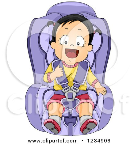 Clipart of a Happy Caucasian Toddler Girl Strapped in a Car Seat - Royalty Free Vector Illustration by BNP Design Studio