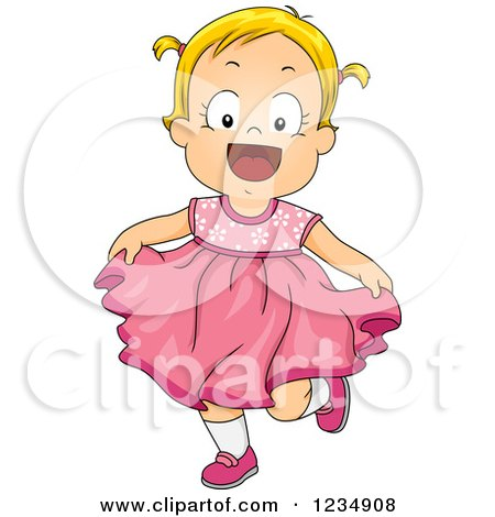 Clipart of a Happy Blond Caucasian Toddler Girl in a Pink Dress - Royalty Free Vector Illustration by BNP Design Studio