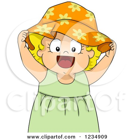 Clipart Of A Blond Caucasian Toddler Girl Wearing A Sun Hat Royalty Free Vector Illustration