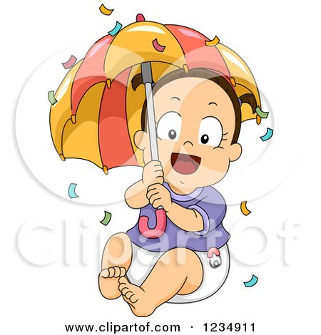 Clipart of a Happy Brunette Caucasian Baby Girl with Confetti and an Umbrella - Royalty Free Vector Illustration by BNP Design Studio