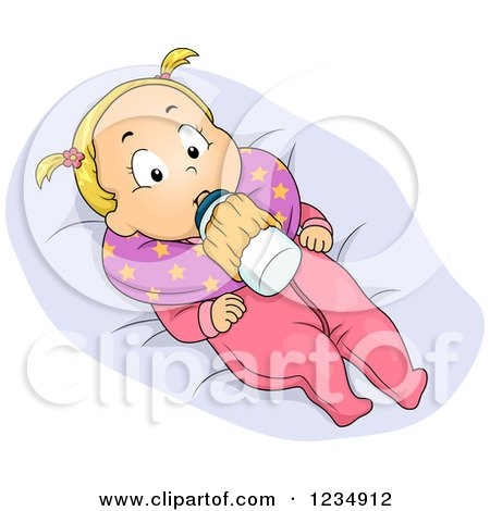 Blond Caucasian Baby Girl with a Milk Bottle Holder Posters, Art Prints