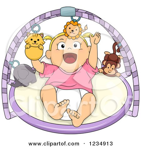 Clipart of a Happy Blond Caucasian Baby Girl Playing on a Musical Gym - Royalty Free Vector Illustration by BNP Design Studio