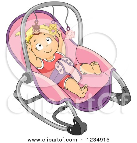 Blond Caucasian Baby Girl Reaching for the Toys on Her Rocker Posters, Art Prints