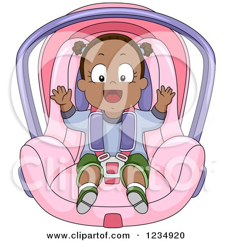 Clipart of a Happy Black Baby Girl in a Car Seat - Royalty Free Vector Illustration by BNP Design Studio