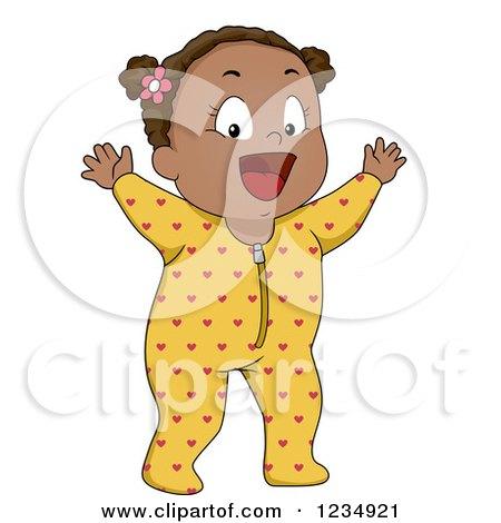 Happy Black Baby Girl in Footie Pjs Posters, Art Prints