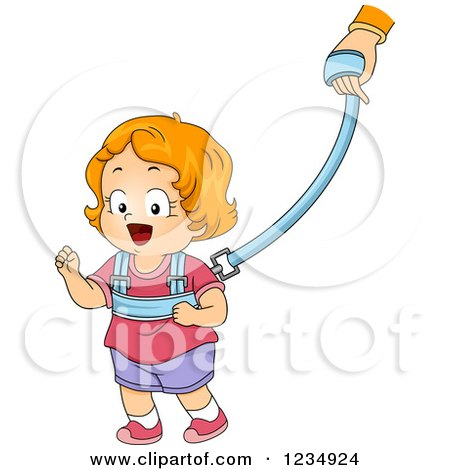 Read Haired Caucasian Toddler Girl on a Child Leash Posters, Art Prints