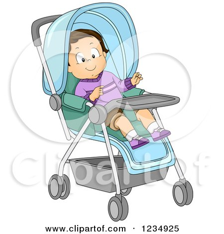 Happy Caucasian Toddler Boy in a Stroller Posters, Art Prints
