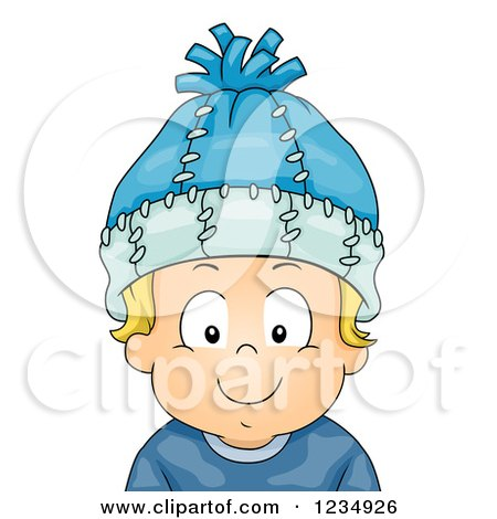 Clipart Of A Happy Blond Caucasian Boy Wearing A Winter Hat Royalty Free Vector Illustration