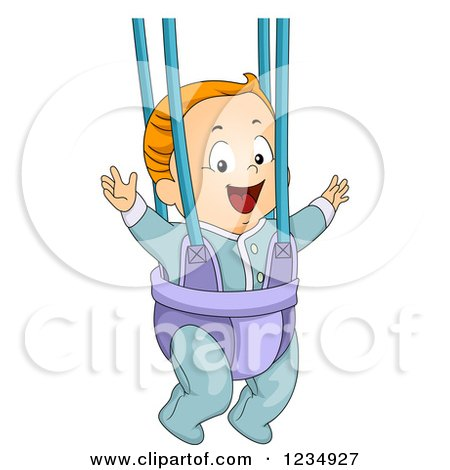 Clipart of a Red Haired Caucasian Baby Boy Playing in a Bouncer - Royalty Free Vector Illustration by BNP Design Studio