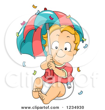 Clipart of a Red Haired Caucasian Baby Boy with an Umbrella and Confetti - Royalty Free Vector Illustration by BNP Design Studio