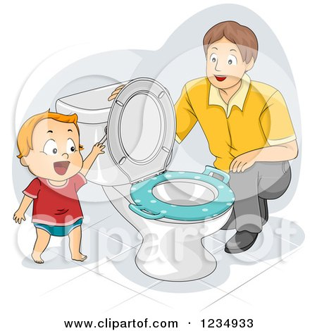 Dad Instructing His Potty Training Son How to Flush a Toilet Posters, Art Prints