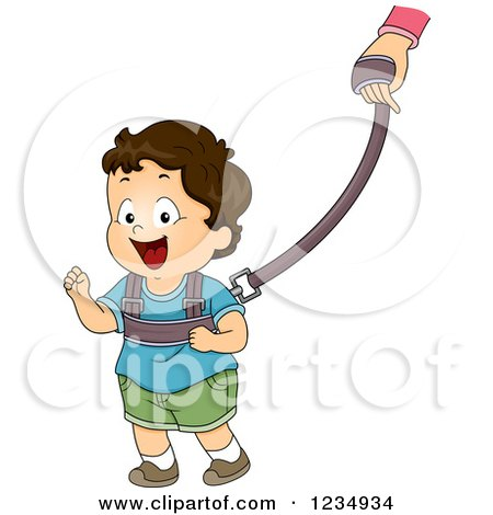 Clipart of a Brunette Caucasian Boy Wearing a Toddler Leash - Royalty Free Vector Illustration by BNP Design Studio