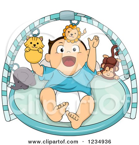 Clipart of a Caucasian Baby Boy Playing in a Musical Gym Toy - Royalty Free Vector Illustration by BNP Design Studio