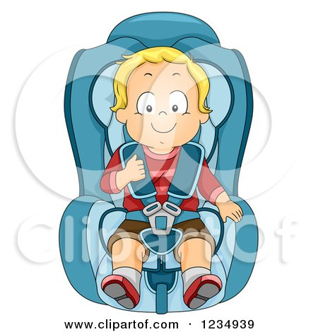 Clipart of a Happy Blond Caucasian Boy in a Booster Car Seat - Royalty Free Vector Illustration by BNP Design Studio