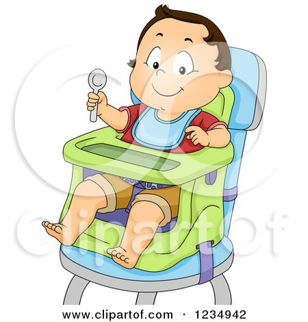 Clipart of a Caucasian Baby Boy Ready to Eat in a High Chair - Royalty Free Vector Illustration by BNP Design Studio