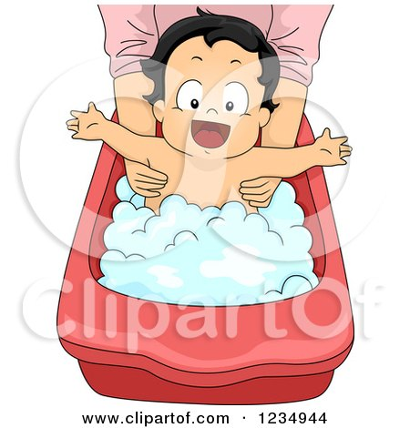 Clipart of a Happy Baby Boy in a Bathing Tub - Royalty Free Vector Illustration by BNP Design Studio