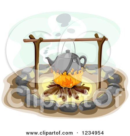 Clipart of a Kettle over a Campfire - Royalty Free Vector Illustration by BNP Design Studio