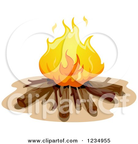 Clipart of a Campire with Logs - Royalty Free Vector Illustration by BNP Design Studio