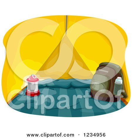 Clipart of a Lantern and Backpack in a Yellow Tent - Royalty Free Vector Illustration by BNP Design Studio