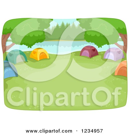 Clipart of a Lakefront Camp Site with Tents in a Ring - Royalty Free Vector Illustration by BNP Design Studio