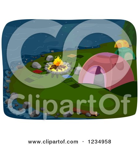 Clipart of a Lakefont Fire and Campground Tents at Night - Royalty Free Vector Illustration by BNP Design Studio