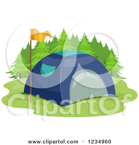 Clipart of a Blue Tent and Yellow Flag - Royalty Free Vector Illustration by BNP Design Studio