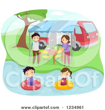 Clipart of a Happy Family Swimming and Having a Picnic at a Lake - Royalty Free Vector Illustration by BNP Design Studio