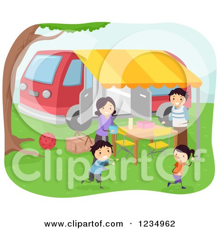 Clipart of a Happy Family Having a Picnic at a Camp Ground - Royalty Free Vector Illustration by BNP Design Studio
