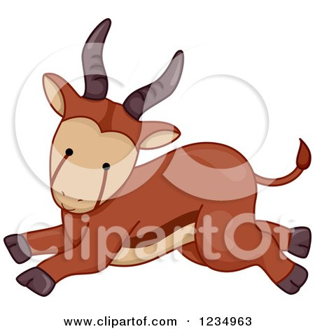 Clipart of a Cute Baby Antelope Running - Royalty Free Vector Illustration by BNP Design Studio